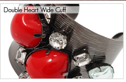 Double Heart Wide Metal Fashion Cuff [BA00094]