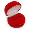 Red Velour Round Ring Jewellery Box