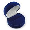 Dark Blue Velour Round Ring Jewellery Box