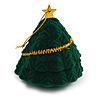 Dark Green Velour Christmas Tree Jewellery Box For Ring/ Stud Earrings