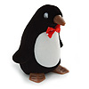 Black/ White Velour Penguin Jewellery Box For Small Ring/ Stud Earrings