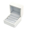 Luxury Wooden Snow White Gloss Wedding Double Ring/ Stud Earrings Box (Rings are not included)