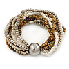 Silver/ White/ Bronze Multistrand Glass Bead Flex Bracelet With A Silver Mirrored Ball - 19cm L