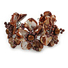 Chestnut Brown Floral Sea Shell & Simulated Pearl Cuff Bracelet (Silver Tone) - Adjustable