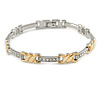 Plated Alloy Metal Clear Crystal Ladies Magnetic Bracelet - 19cm L (Large)