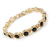 Plated Alloy Metal Black Round Cut Crystal Stones Ladies Magnetic Bracelet - 18cm Long
