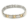 Plated Alloy Metal Oval and Cross Motif Ladies Magnetic Bracelet - 19cm L (Large)