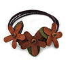 Handmade Leather Floral Flex Wire Bracelet (Brown/ Green) - Adjustable