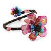 Multicoloured Shell Floral Flex Wire Bracelet - Adjustable