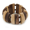 Natural/ Brown Wood Flex Bracelet - 19cm L