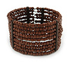 Brown Glass Bead Flex Cuff Bracelet - Medium