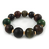 Green/ Brown/ Black Graduated Wood Bead Flex Bracelet - 18cm L