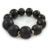 Black Graduated Wood Bead Flex Bracelet - 18cm L