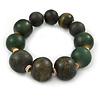 Dark Green Graduated Wood Bead Flex Bracelet - 18cm L