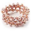 3 Strand Lilac Freshwater Pearl Wrap Bangle Bracelet (6mm)
