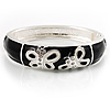 Black And White Enamel Hinged Butterfly Bangle
