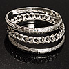 Patterned Metal Bangles - Set of 3 (Silver Tone)