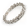 Stunning Bridal Clear Crystal Flex Bangle Bracelet (Silver Tone)