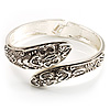 Vintage Inspired Snake Hinged Bangle Bracelet (Antique Silver Tone)