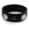 Floral Shell Bangle Bracelet (Black Tone)