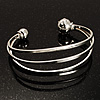 Silver Tone Crystal Cuff Bangle