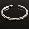Clear Crystal Thin Flex Bangle Bracelet (Silver Tone)
