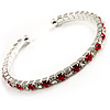 Clear&Red Crystal Thin Flex Bangle Bracelet (Silver Tone)