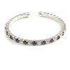 Clear&Violet Blue Crystal Thin Flex Bangle Bracelet (Silver Tone)