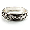 Vintage Braided Hinged Bangle Bracelet (Antique Silver Tone)