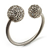 Crystal Ball Cuff Bangle (Silver Tone) - Catwalk 2014