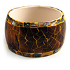 Chunky Wide Shell Bangle (Brown & Yellow)