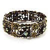 Victorian Olive Green Crystal Floral Flex Cuff Bangle (Bronze Tone)