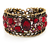 Bronze Tone Red Crystal Floral Cuff Bangle