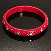 Swarovski Crystal Floral Resin Bangle (Magenta & Deep Pink)