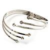 Silver Tone Crystal Armlet Bangle - Adjustable