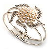 Bridal Imitation Pearl Flower Hinged Bangle Bracelet (Silver Tone)