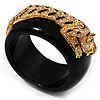 Black Resin Crystal 'Tiger' Bangle (Gold Tone)