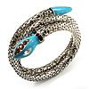 Silver Plated Diamante Snake Flex Bangle Bracelet