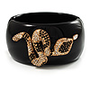 Wide Black Resin 'Snake' Hinged Bangle Bracelet