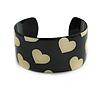 Black & Cream Metal Heart Cuff Bangle - up to 19cm length