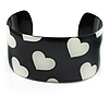 Black & White Metal Heart Cuff Bangle - up to 19cm length