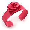 Pink Acrylic Rose Cuff Bangle
