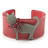 Kitty With Crystal Bow Pale Pink Plastic Cuff Bangle