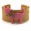 Kitty With Crystal Bow Mustard Plastic Cuff Bangle