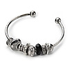 Silver Tone Black Glass & Metal Bead Cuff Bangle