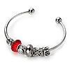 Silver Tone Red Glass & Metal Bead Cuff Bangle