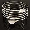 Rhodium Plated Crystal Leaf Armlet Bangle
