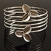Rhodium Plated Crystal Flower Upper Arm Bracelet