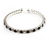 Black & Clear Crystal Thin Flex Bangle Bracelet (Silver Tone)