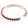 Pink Crystal Thin Flex Bangle Bracelet (Silver Tone)